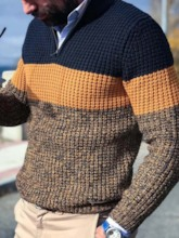 Standard Block Color Patchwork Style Men's Sweater