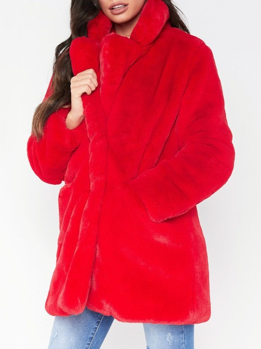 Mid-Length Regular Christmas Loose Warm Women's Faux Fur Overcoat