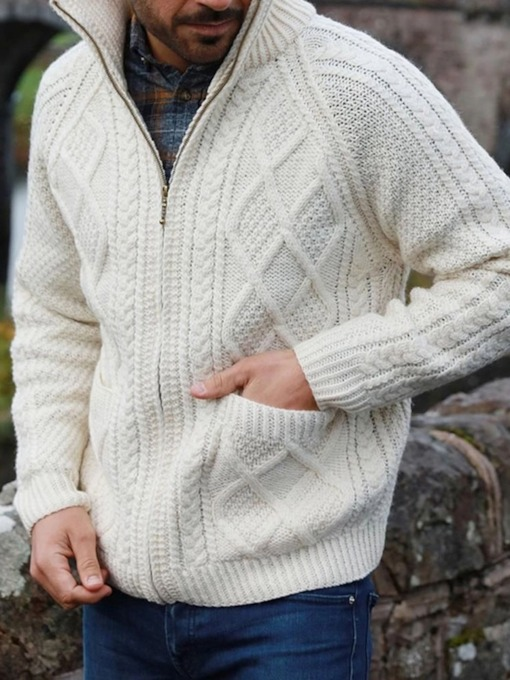 Standard Plain Color Zipper Style Men's Sweater