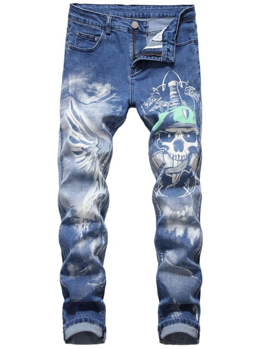 Printed Pencil Skull Casual Men's Jeans