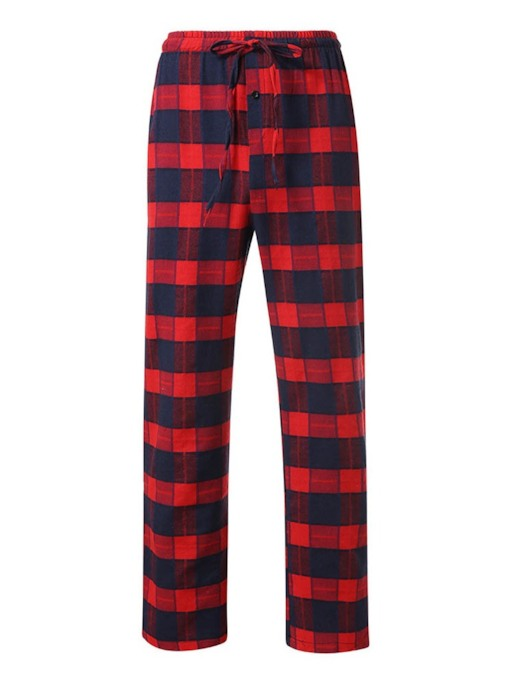 Straight Plaid Printed Lace-Up Style Men's Casual Pants