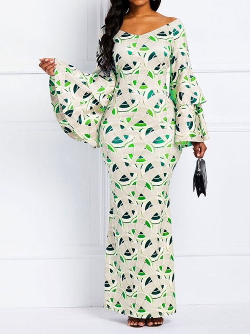 V-Neck Long Sleeve Floor-Length Print Trumpet Women's Dress