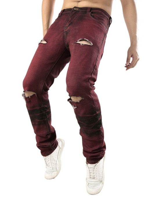 Pencil Plain Color Hole Mid Waist Style Men's Jeans