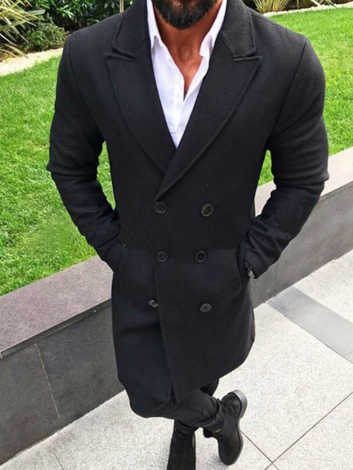 Mid-Length Notched Lapel Plain Color Casual Men's Coat