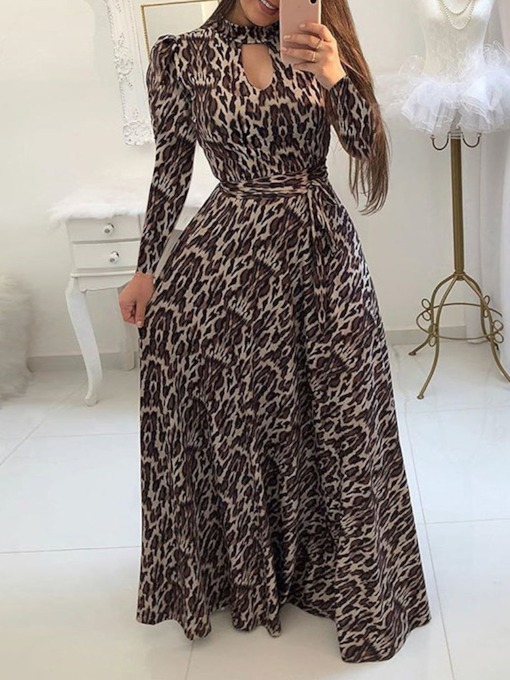 Floor-Length Print Long Sleeve Pullover Women's Dress