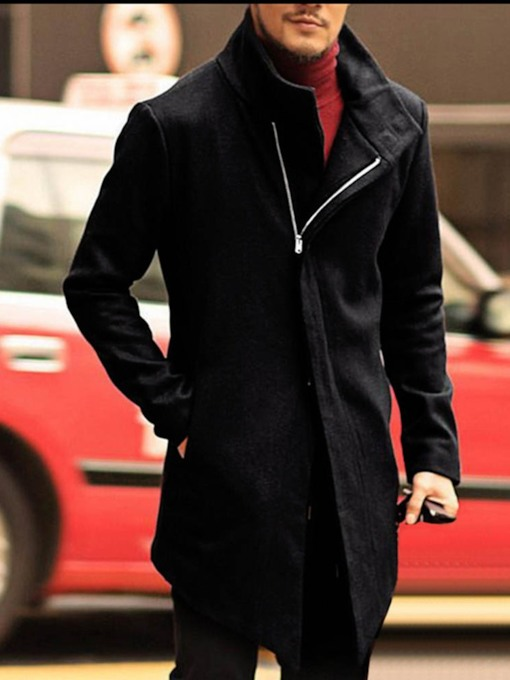 Zipper Plain Mid-Length Style Korean Men's Coat
