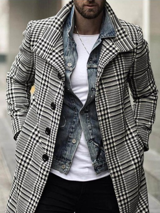 Mid-Length Plaid Button Lapel A Line Men's Coat