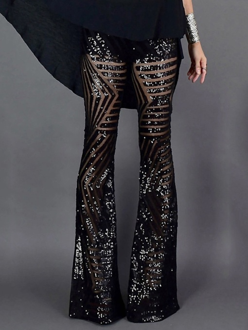 Slim Sequins Casual High Waist Women's Casual Pants