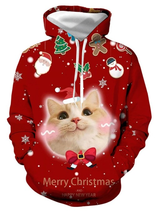 Christmas Thick Printed Pullover Animal Casual Christmas Men's Hoodies