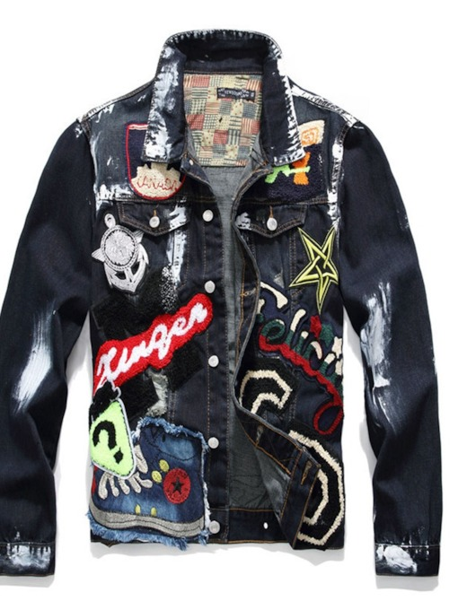 Lapel Appliques European Men's Jacket