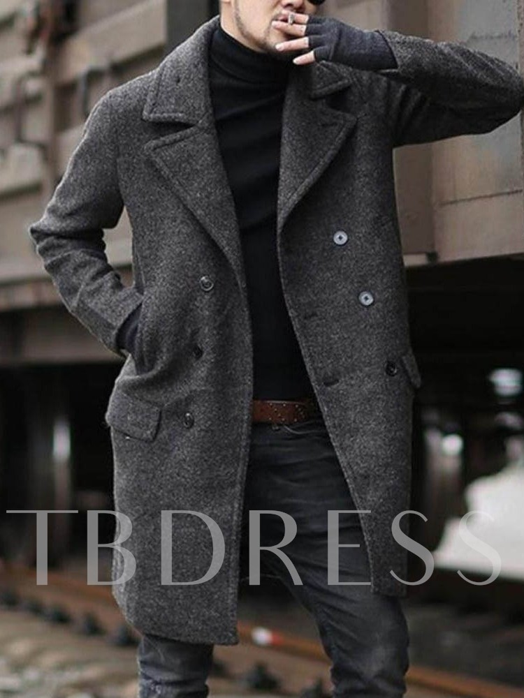 Button Lapel Plain Mid-Length Style Double-Breasted Men's Coat