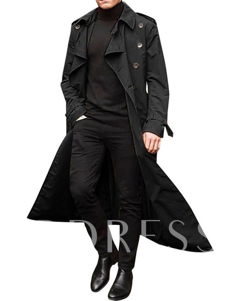 Plain Color Button Double-Breasted Men's Trench Coat