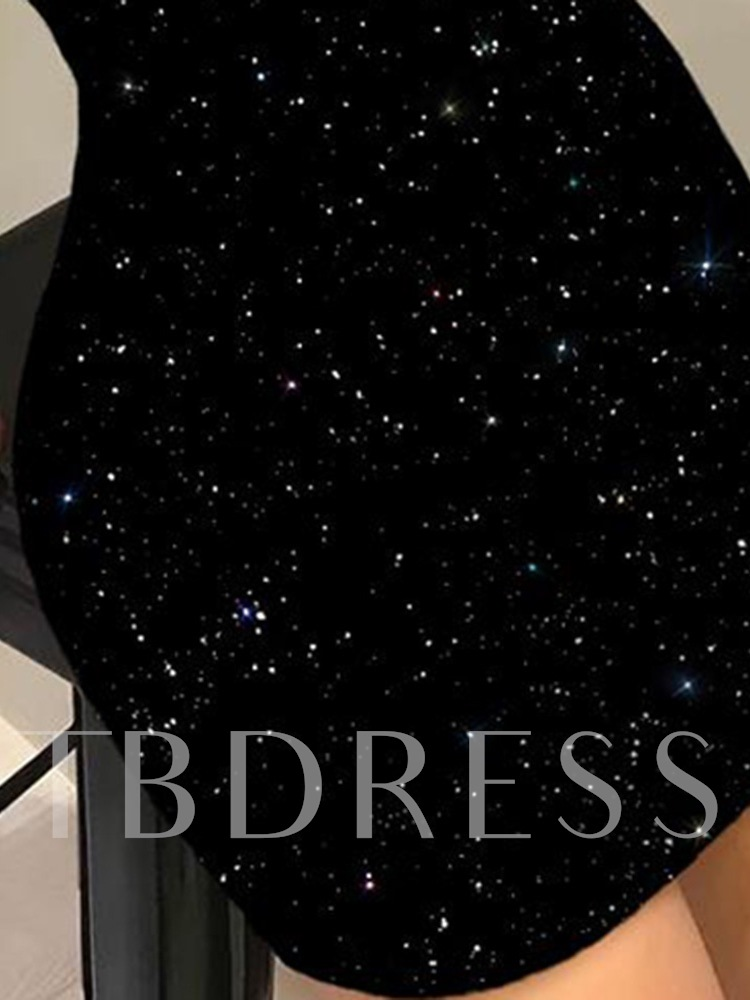Round Neck Long Sleeve Above Knee Sequins Bodycon Women's Dress
