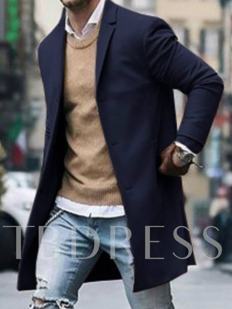 Notched Lapel Mid-Length Plain Color Casual Men's Coat