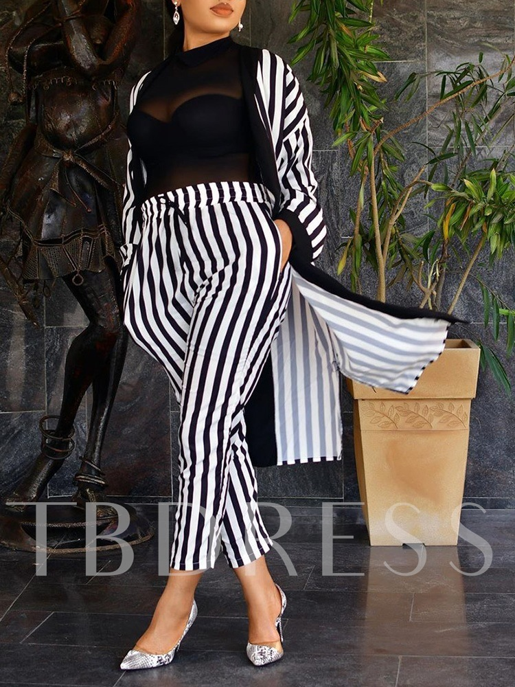 Stripe Casual Western Women's Two Piece Sets