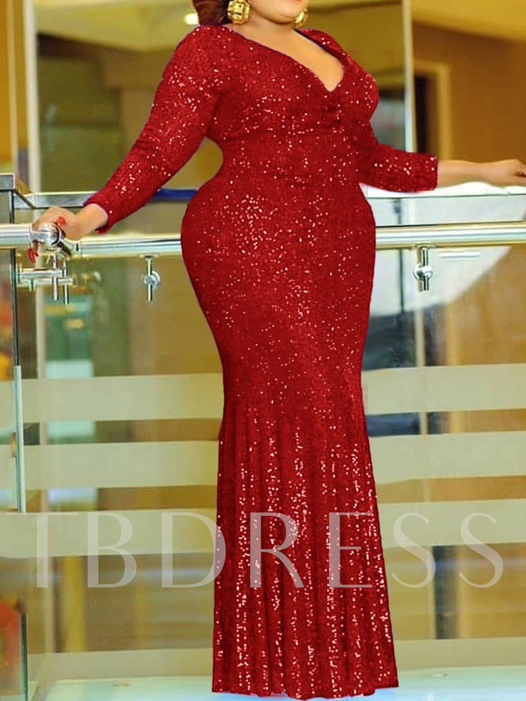 Plus Size Three-Quarter Sleeve Floor-Length Sequins V-Neck Plain Women's Dress