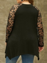 Plus Size Regular Round Neck Patchwork Mid-Length Women's Blouse