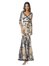 3/4 Length Sleeves Embroidery Lace Evening Dress 2020