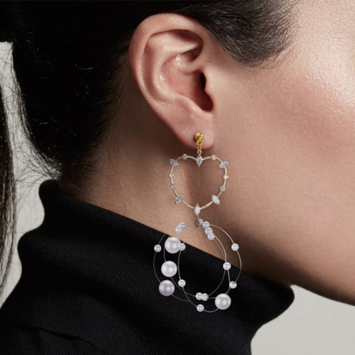 Pearl Diamante Korean Holiday Drop Earrings