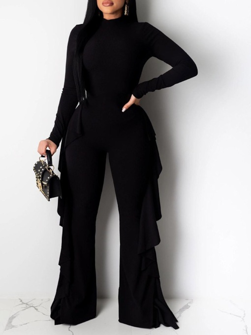 Plain Casual Slim Wide Legs Women's Jumpsuit