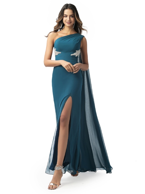Sheath One Shoulder Beading Split-Front Evening Dress 2020