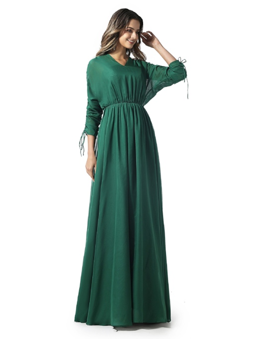 A-Line 3/4 Length Sleeves V-Neck Ruched Evening Dress