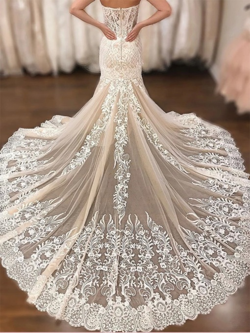 Chapel Train Mermaid Embroidery Lace Wedding Dress 2020