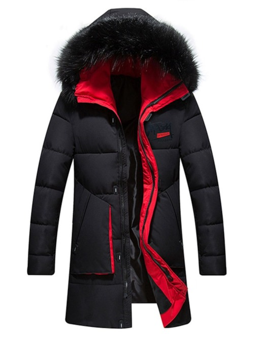 Color Block Zipper Mid-Length Hooded Casual Men's Down Jacket