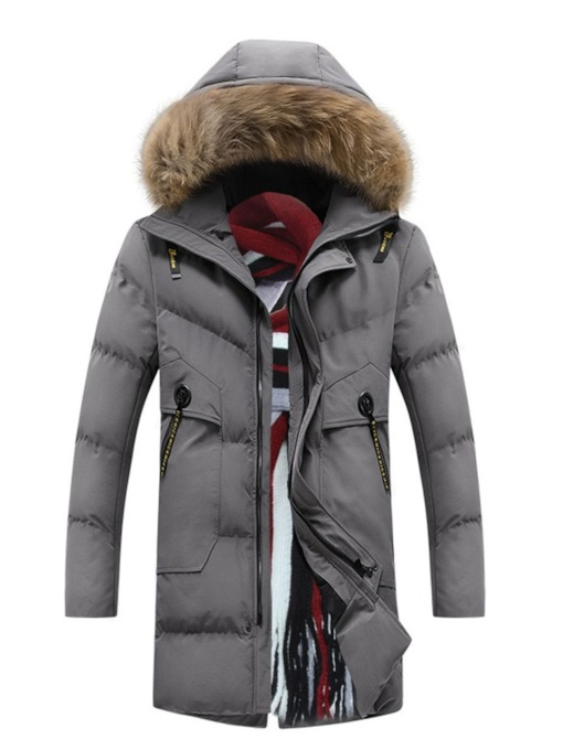 Zipper Hooded Mid-Length Style Color Block Men's Down Jacket