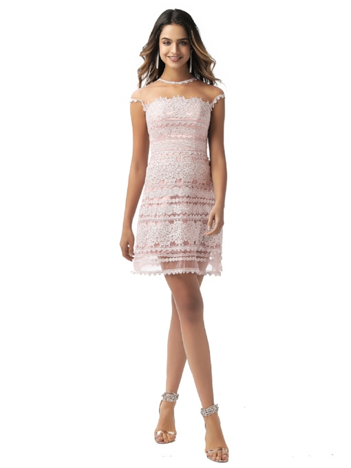 Button Sheath Cap Sleeves Lace Cocktail Dress 2020