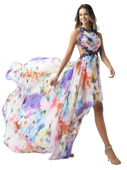 Appliques Asymmetry Backless Print Prom Dress 2020