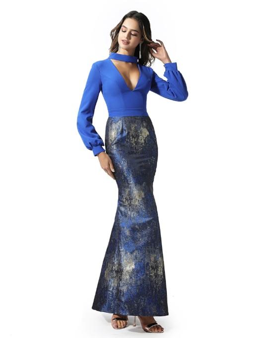 Trumpet Print Long Sleeves Evening Dress 2020