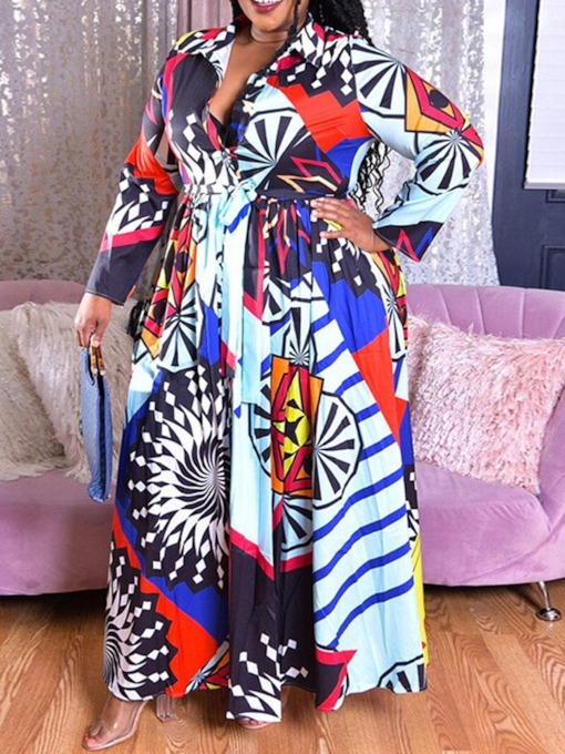 Plus Size Long Sleeve Print Floor-Length Lapel Regular Women's Dress