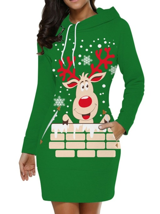 Christmas Long Sleeve Hooded Print Above Knee Pullover Women's Dress