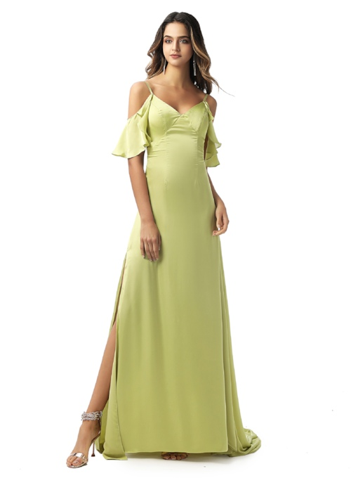 Spaghetti Straps Floor-Length Open Shoulder Chiffon Evening Dress