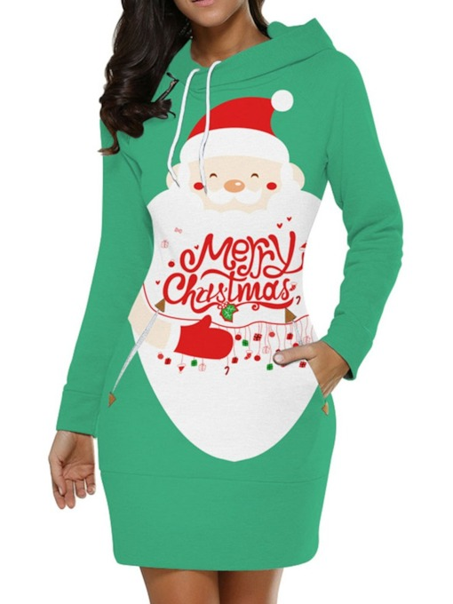 Christmas Print Long Sleeve Above Knee Hooded Mid Waist Women's Dress