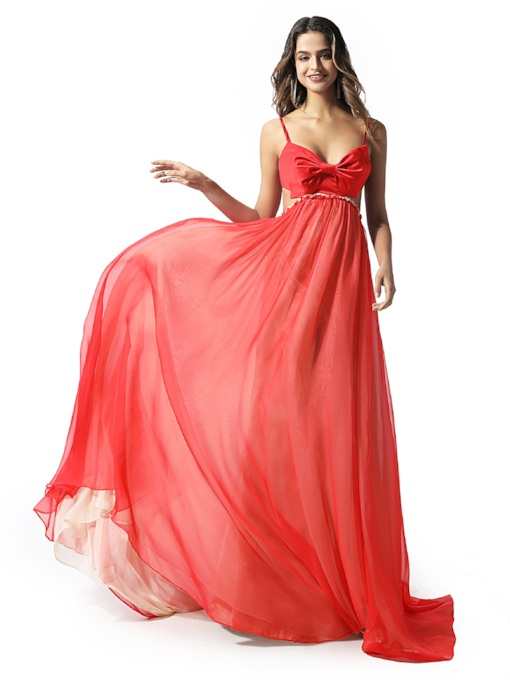 Spaghetti Straps Bowknot Hollow Red Prom Dress 2020