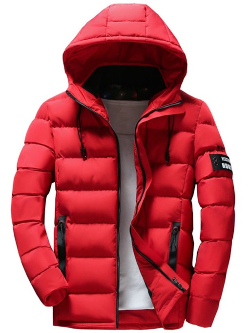 Standard Zipper Hooded Men's Down Jacket