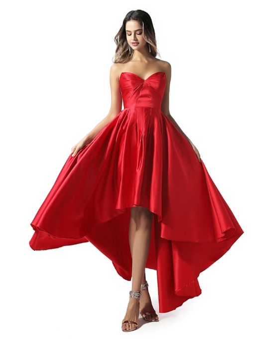 Sweetheart Pleats Asymmetry Cocktail Dress 2020