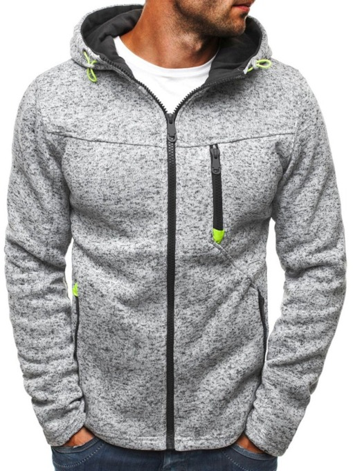 Cardigan Zipper Color Block Casual Men's Hoodies