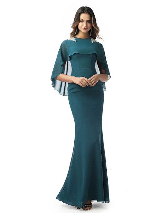 Jewel Neck Beading Sheath Evening Dress 2020