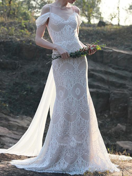 Spaghetti Straps Watteau Train Sheath Lace Wedding Dress 2020
