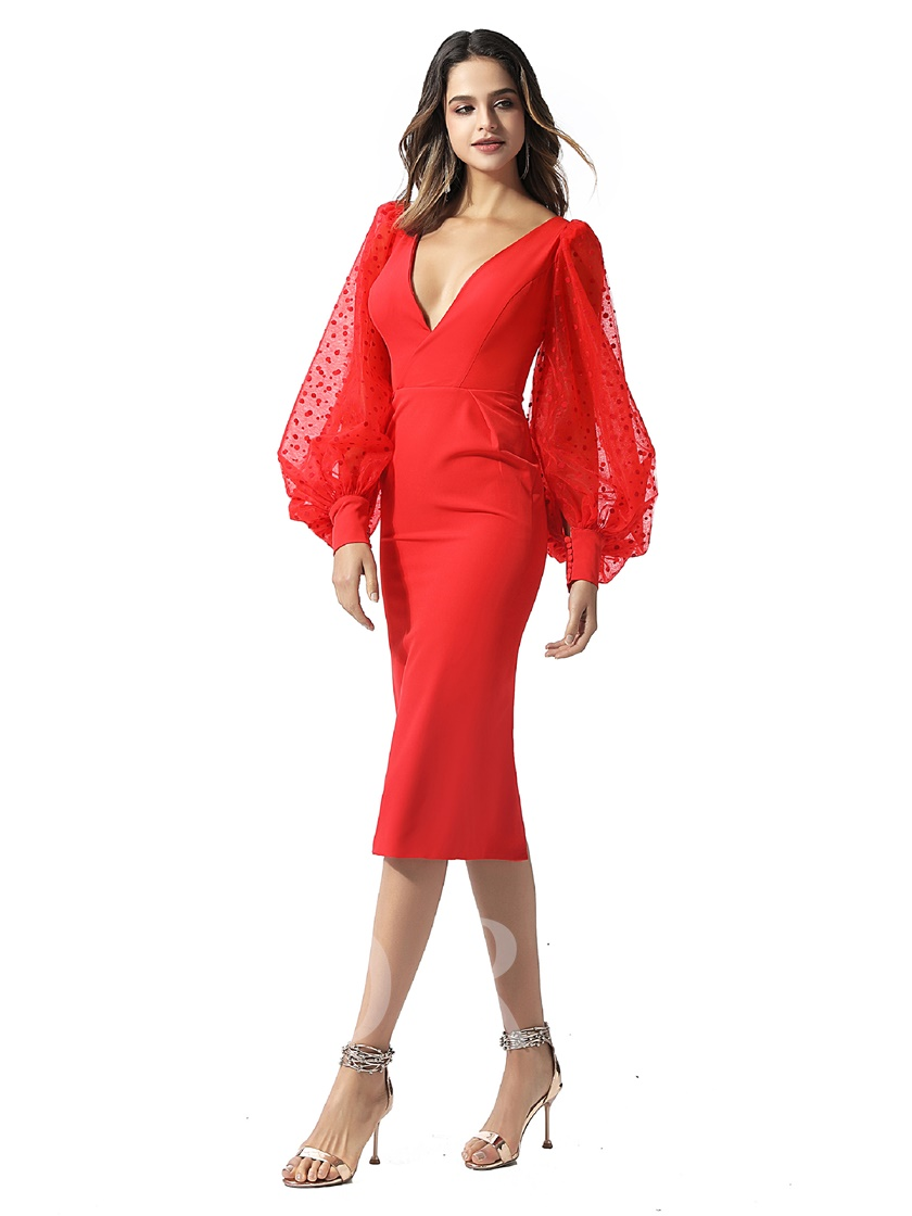Long Sleeves V-Neck Knee-Length Sheath Red Cocktail Dress 2020