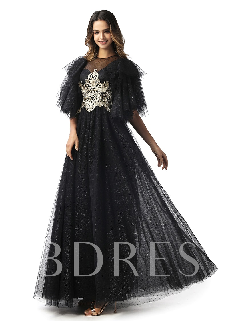 Short Sleeves Embroidery Lace Evening Dress 2020