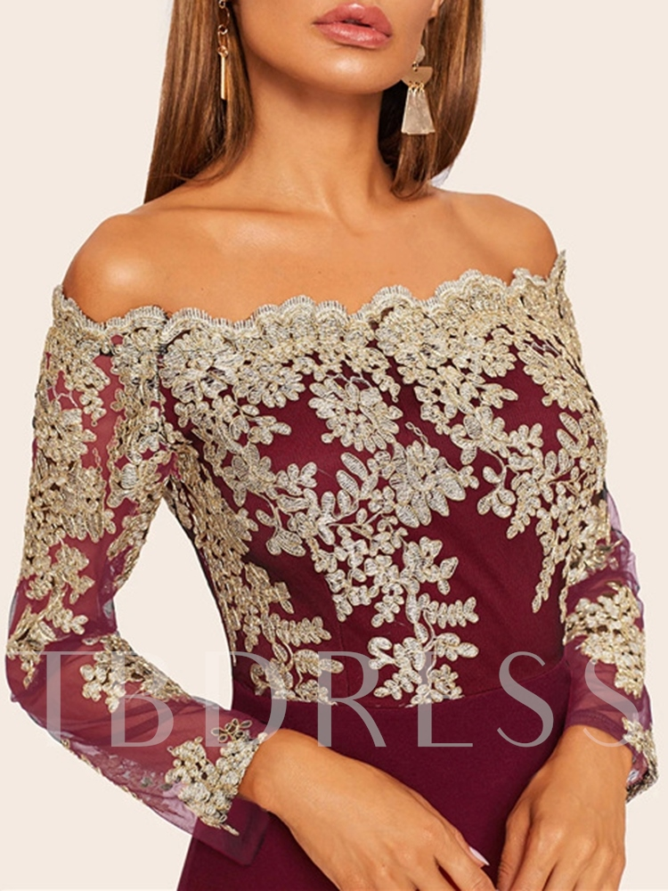 Off Shoulder Above Knee Mesh Long Sleeve Party/Cocktail Women's Dress