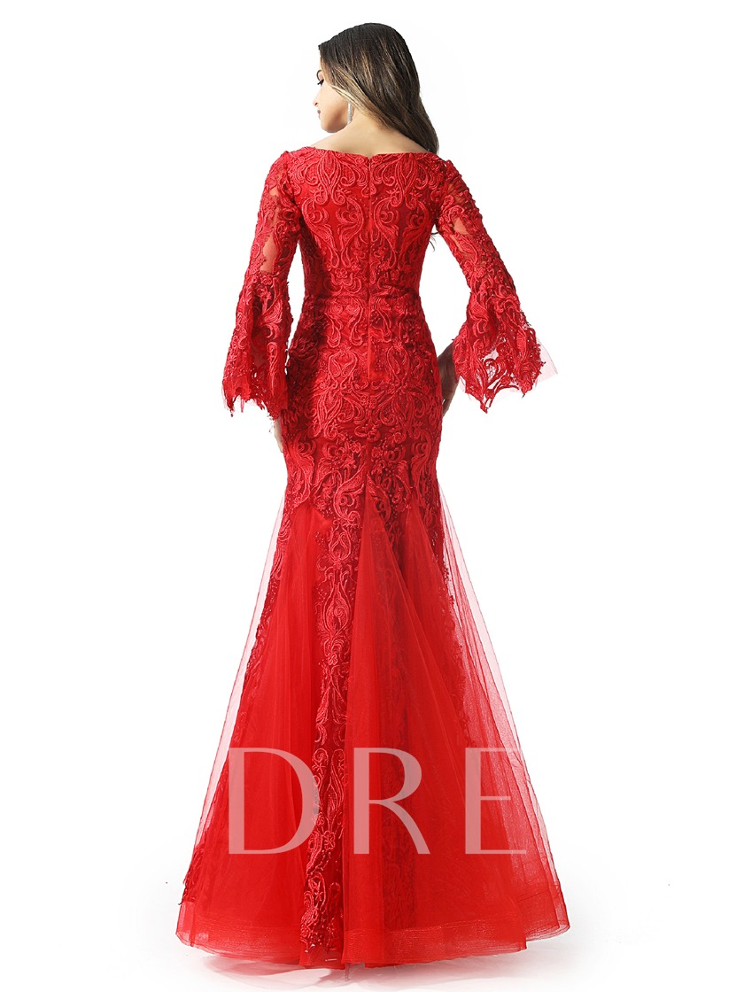 Lace Long Sleeves Red Evening Dress 2020