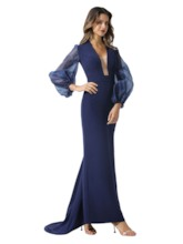 Puff Long Sleeves Sheath Evening Dress 2020