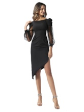 Long Sleeves Sheath Black Cocktail Dress 2020