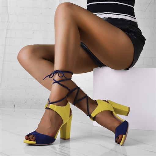 Customized Lace-Up Open Toe Patchwork Sandals