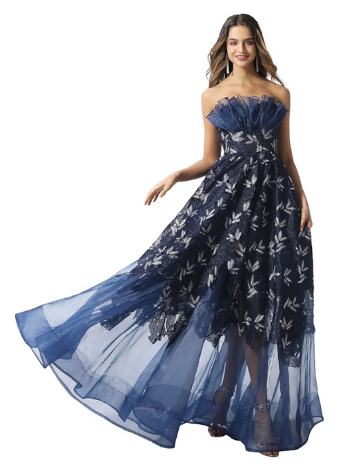 Strapless A-Line Ruched Lace Prom Dress 2020